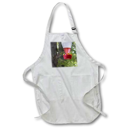 Beverly Turner Bird Photography - Hummingbird at Feeder - BLACK Full Length Apron with Pockets 22w x 30l (apr_27304_4)