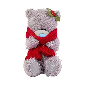 Me To You 4-Inch Tatty Teddy Bear Wearing a Winter Scarf Sits Tall (Grey)