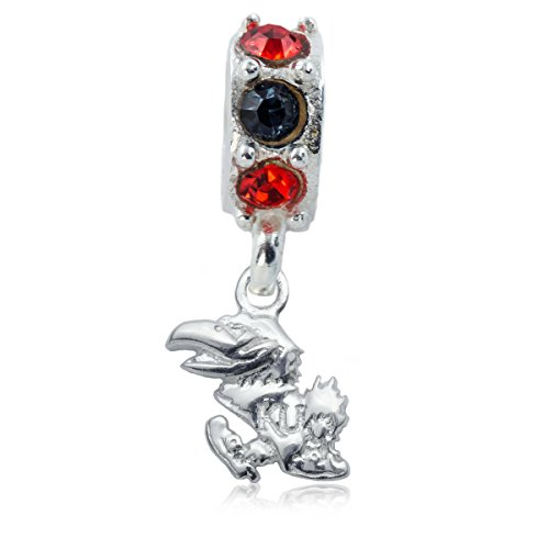 NCAA Kansas Jayhawks .925 Sterling Silver Spirit Charm Bead, Kansas Jewelry