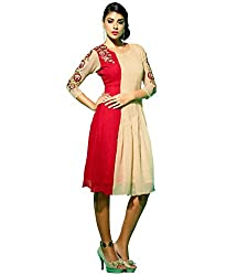 The Ethnic Chic Women's Cream & Red Color Faux Georgette Kurti.