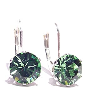 SILVER LEVERBACK EARRINGS MADE WITH SPARKLING PERIDOT SWAROVSKI CRYSTAL. HIGH QUALITY. LOW PRICES.