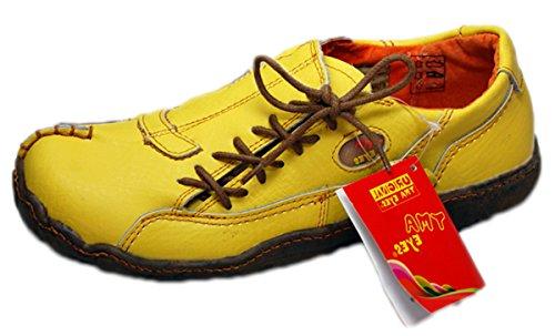 Damen Comfort Leder Schuh von TMA EYES in Gelb Sport Schuhe echt Leder Gr. 37