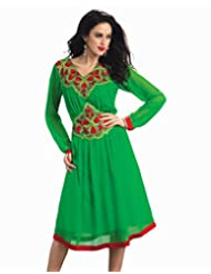 Surat Tex Green Color Pure Georgette Wedding Wear Embroidered Kurti