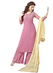 APRAH FASHIONS Women's Faux Georgette Unstithed Dress Material (AFV-Florida-1010_Pink_Freesize)