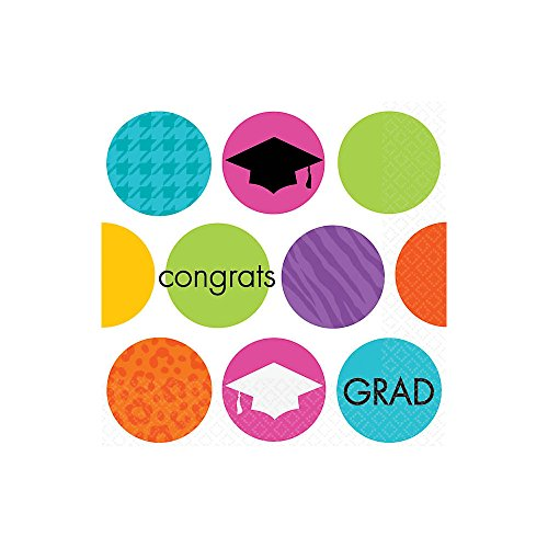 Colorful Commencement Beverage Napkins- 36ct