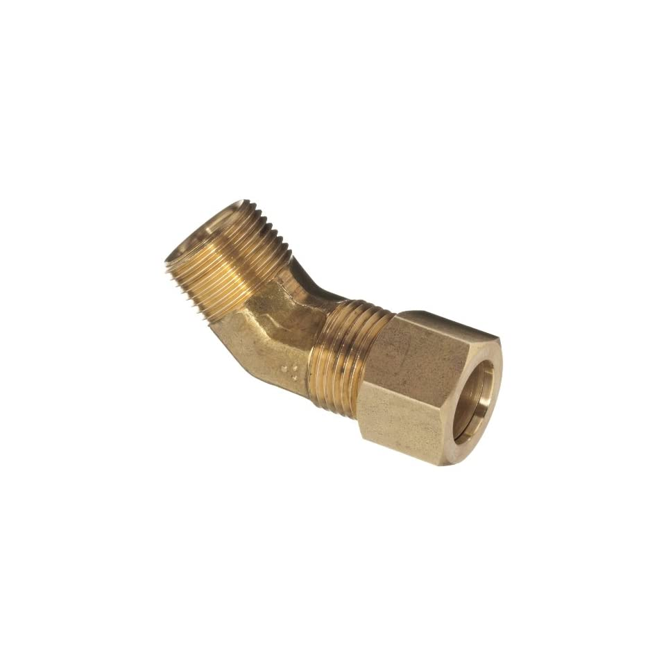 Anderson Metals Brass Tube Fitting, 45 degree Elbow, 3/8 Compression x 1/8 Male Pipe
