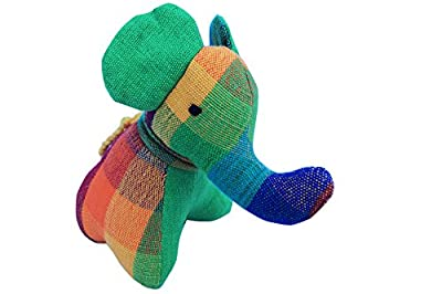 Rainbow Elephant - Handmade from Hand Woven from 100% Natural Cotton Eco Friendly Toy Baby Elephant Gift Soft Toy