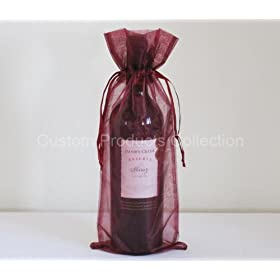 """6 Burgundy Organza Bags - Bottle/Wine Bags Gift Pouch, 6"""" x 14"""": Health & Personal Care"""