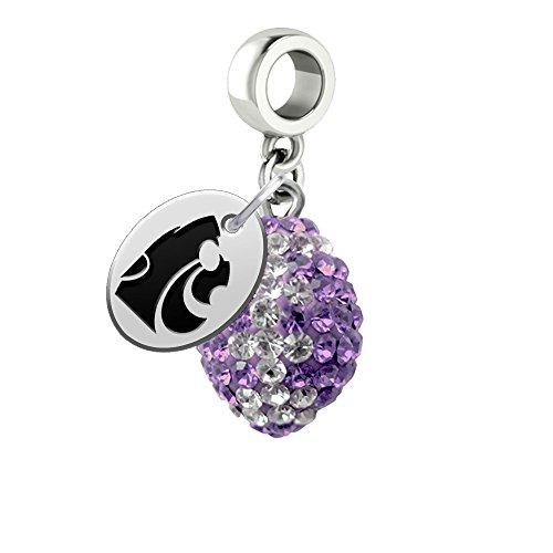 Kansas State Wildcats Crystal Football Drop Charm Fits All European Style Bracelets