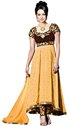 Clickedia Women & Girls Embroidered High Low Semi-stitched Bronze Beige Georgette salwaar suit Anarkali dress Material with contrast churidaar and empire top