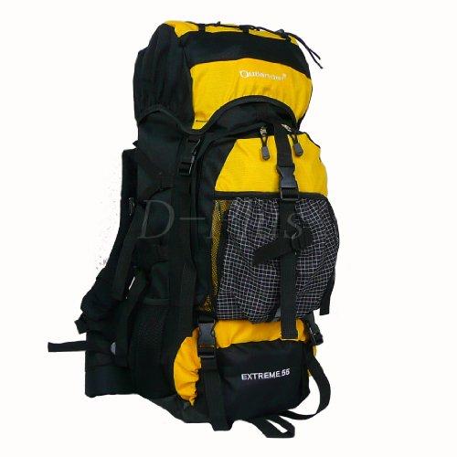 OUTLANDER(アウトランダー)バックパック リュックサック 55L 登山リュック 防災リュック (55Lイエロー)