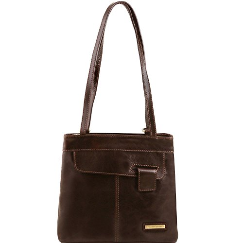 Tuscany Leather Martina - Borsa donna in pelle convertibile a zaino - TL141477 (Testa di Moro)
