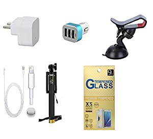 13Tech 1.0 Amp USB Charger+3 mtr Copper (Data Transfer+Charging) Cable+3 Jack Car Charger+Sefie Stick Aux+Mobile Holder+Tempered Glass for Apple Iphone 6 Plus