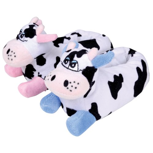Girls / Infants Slippers Mad Moo Novelty Cow Soft Warm Slippers With Grip Soles