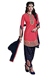 Zombom Peach Cotton Embroidered Un-stitched Salwar Suit