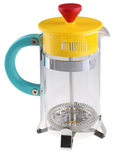 Gourmet Single Serve Matte Red, Yellow, and Teal Retro French Press Coffee Brewer