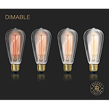 Vintage Edison Light Bulb 60W (4 Pack) - Dimmable Exposed Filament - Incandescent Clear ST58 Teardrop Squirrel Cage Style - E26 Medium Base 2700K - 210 Lumens
