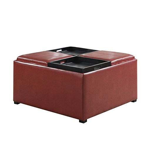 Simpli Home Avalon Coffee Table Storage Ottoman With 4 Serving Trays Radicchio Red Food