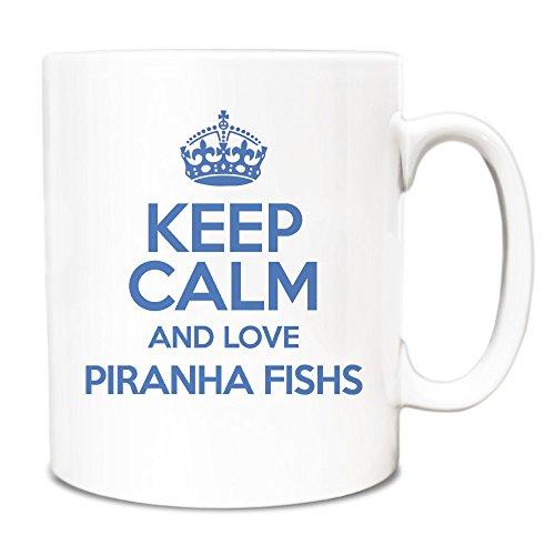 BLUE Keep Calm and Love Piranha Fishs Mug TXT 2042