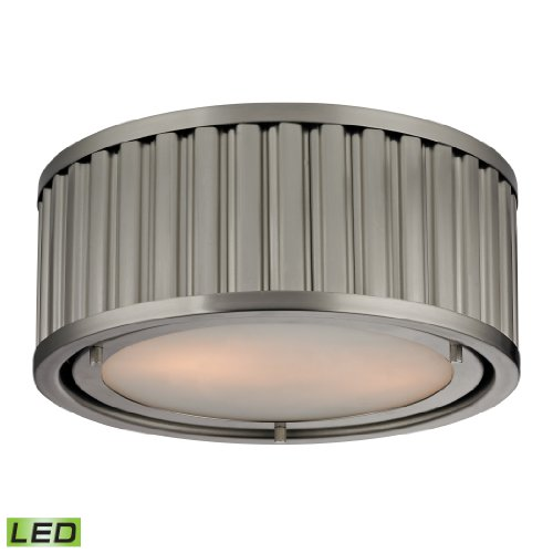 Linden Collection 2 Light Flush Mount In Brushed Nickel - Led, 800 Lumens (1600 Lumens Total) With Full Scale Dimming Range, 60 Watt (120 Watt Total)Equivalent , 120V Replaceable Led Bulb Included
