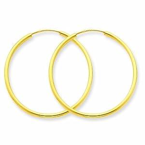 14k 1.5mm Polished Round Endless Hoop Earrings