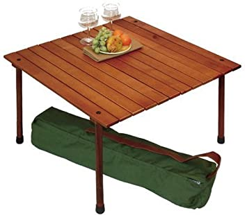 Wood table reviews table in a bag w2716 low wood portable table with carrying bag brown reviews - Low portable picnic table in a bag ...