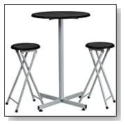 Bar Height Table with Folding Stools Set