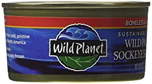 Wild Planet Wild Pacific Sockeye Salmon, Skinless & Boneless, 6 Ounce Can (Pack of 4)
