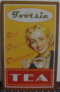 Wholesal Tea Lady Postrer Tin Sign Art Home Cafe Teahouse Vintage Iron/Metal Paintings E-72 Mix Order 25*40 Cm