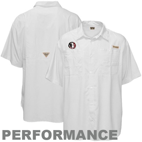 Columbia Florida State Seminoles (FSU) White Tamiami Button-Up Performance Fishing Shirt (X-Large)