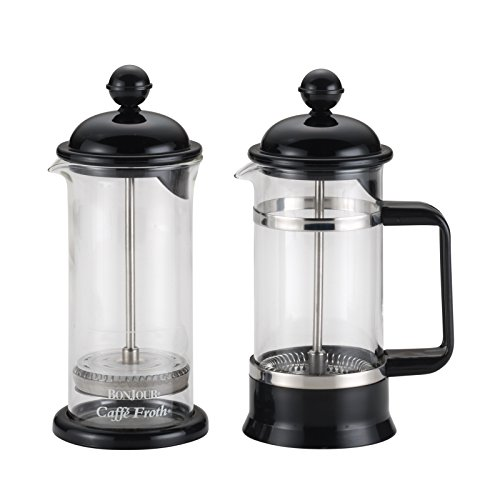 BonJour 53521 Coffee 3-Cup La Petite French Press and Milk Frother Set, Black