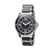 Ladies Charles Hubert Stainless Steel and Ceramic Black Dial Watch