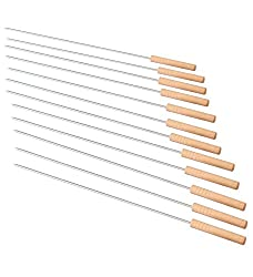 Godskitchen Barbeque Sticks/Skewers/Kebab Sticks with wooden handle (Pack of 12)