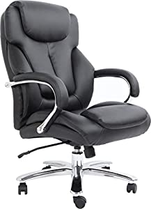 Comfort Products 60-5600T Admiral III Big & Tall Executive Leather Chair, Black