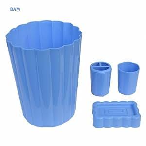 4 piece bath set wastebasket soap dish for Bathroom wastebasket sets
