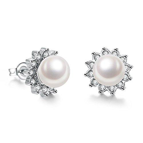 Colorful Live donna, in platino, colore: oro luccicante per ceca-Orecchini pendenti con perla naturale, Placcato platino, colore: bianco, cod. Colorful Live