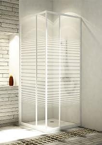 Eckeinstieg Duschkabine Echtglas Sicherheitsglas mit Streifen Weisse Profile 80x80 90x90 80x90 90x80  BaumarktÜberprüfung und Beschreibung