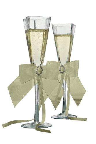 Jamie Lynn Wedding Accessories Crystal Eternity Toasting Flutes, Set of 2, Ivory