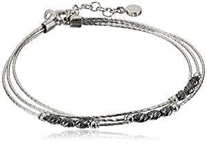 Italian Sterling Silver Rhodium and Black Rhutenium Plated Diamond Cut Oval Bead Three Strand Bracelet, 7