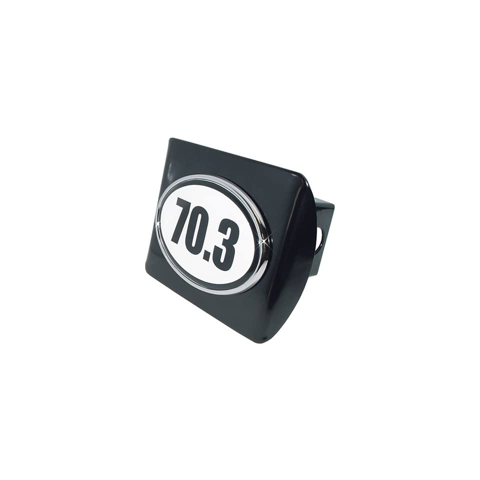 Half IronMan 70.3 Premium Black Metal Trailer Hitch Cover with White Oval Logo