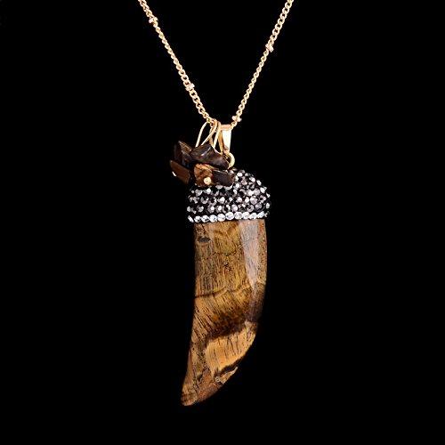 Someed (TM) 7 colori strass Quarzo Rosa Denti Turchese Lazuli Agata pietra opalina naturale ciondolo collana donne del