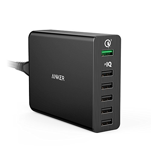 Anker Quick Charge 3.0 60W 6-Port USB Wall Charger, PowerPort+ 6 for Galaxy S9/S8/S7/S6/Edge/Plus, Note 5/4 and PowerIQ for iPhone X/8/7/6s/Plus, iPad Pro, LG, Nexus, HTC and More