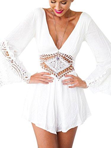 Choies Women's Chiffon White Lace Waist Long Sleeves Romper Playsuit