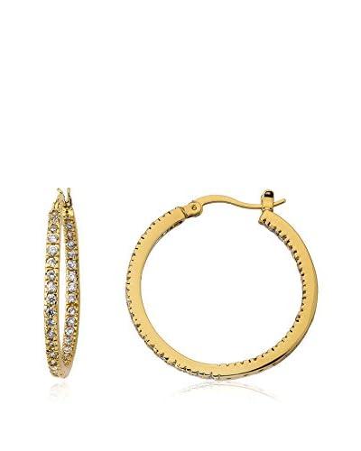 Riccova Retro Inside-Out CZ Hoop Earrings, Gold
