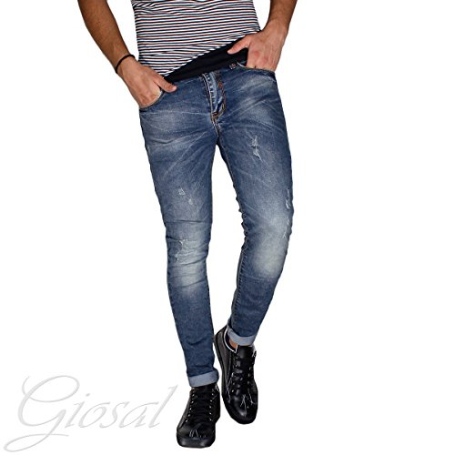 Pantalone Uomo Jeans Denim Cotone Cinque Tasche Slim Strappato GIOSAL-Denim-42