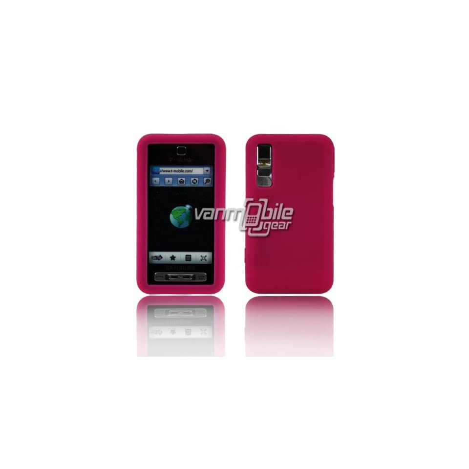 VMG Samsung Behold T919 1st Gen Soft Skin Case Cover   HOT PINK Premium 1 Pc Soft Rubber Gel Silicone Skin Case Cover for Samsung Behold T919 1st Generation T Mobile Cell Phone [In VANMOBILEGEAR Retail Packaging]