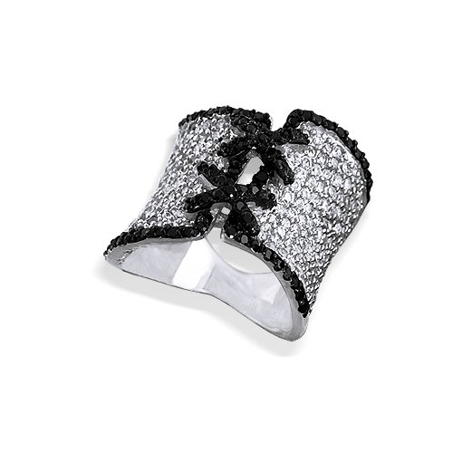 Bling Jewelry Black and White Ring Sterling Silver Pave Diamond CZ Corset