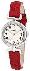 Timex Womens T2N661 Weekender Petite Red Woven Leather Strap