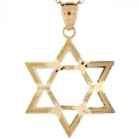 10k Real Gold Star of David Diamond Cut Charm Pendant