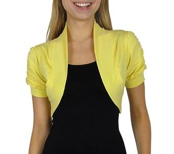 Smooth Fashion Women's Bolero Shrug Cardigan (Small, Yellow)